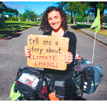 One year on a bike to collect stories about climate Change Devi Lockwood
