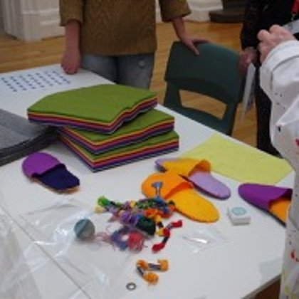 Creating Felt slippers to relax and wonder around the gallery in!